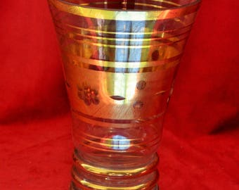 Late 1950s gold plated engraved glass vase
