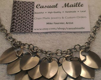 """Stainless Steel Scale Bib Necklace 18"""" (Med Scales)"""