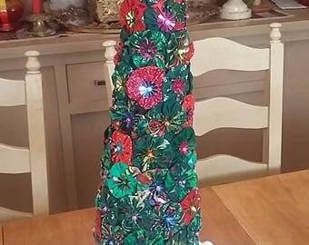 "Hand-made Original YOYO Christmas Tree 19"" Tall, Brass Base"