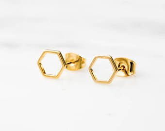 Gold Hexagon Earrings / Gold Hexagon Studs / Geometric Studs / Gold Geometric Earrings