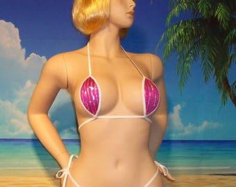 side tie g-string bikini w/ Teardrop top pink silver holographic