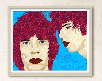 Rolling Stones Print Mick Jagger Keith Richards Rock Music Print Digital Download Rolling Stones Poster Wall Art Decor Music Print Poster