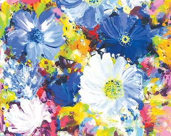 Colorful Art Flowers Abstract Painting Acrylic Gift for Her Art Abstract Artwork Art Print Wall Art Gift for Women Positive Happy Art