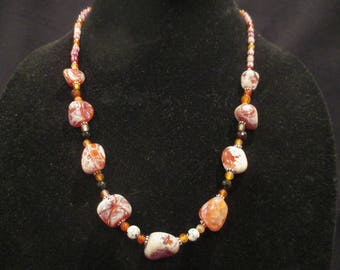 Fire Agate necklace with Carnelian, red barrel czech glass beads and sterling silver