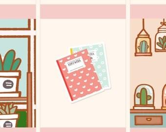 Cute Homework Stickers,Kawaii homework stickers, School stickers, College stickers, Cute school stickers, Cute college stickers (FI006)