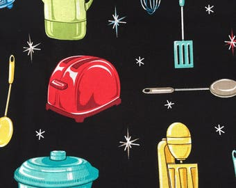Kitchen Fabric Retro Kitchen By the Yard 36 Inches Long Cotton