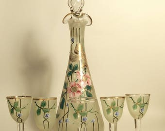 Antique handpainted Liqueurset-early 20th century