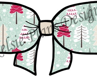 Christmas Bow - Mint and Trees