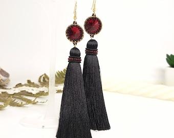 Black tassel earrings Long black earrings Gold black earrings oscar de la renta black red earrings boho tassel earrings bohemian earrings