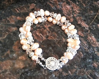 2 Strand Bracelet Real Pearls and Crystals with Rhinestones