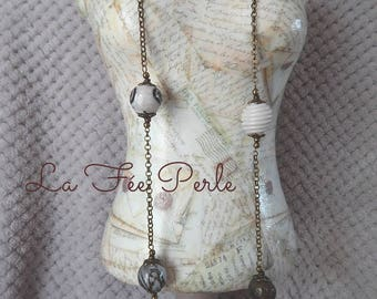 Bronze chain necklace and pearl beads