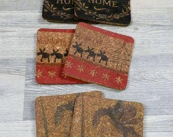 "Set of cork coaster different motifs: ""Christmas"", ""Home"", ""Flower"""
