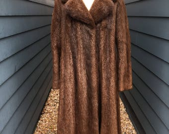 1960s Beaver Fur Coat // Full Length Fur Coat // Vintage Fur Coat // Made in Argentina