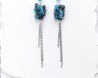 Blue Gemstone Drop Earrings | Cluster Earrings | Iolite Earrings | Rhodium Plated Silver Earrings | Long Earrings | Gift for Her