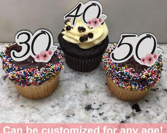 Birthday Age (Edible) Cupcake Toppers, Birthday Age, Birthday cupcake topper, 30th Birthday topper, 21st Birthday Topper, 40th Birthday