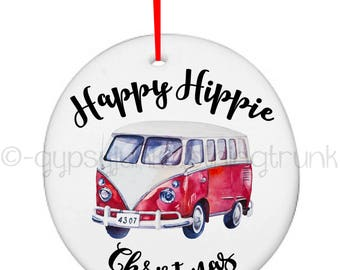 Hippie Ornament, Christmas Ornament, Hippie Van Ornament, Hippie Gifts, Hippie Gifts, Happy Hippie Christmas, Beach Christmas, Collectible