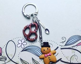 Key chain small cookie, pretzel - polymer clay