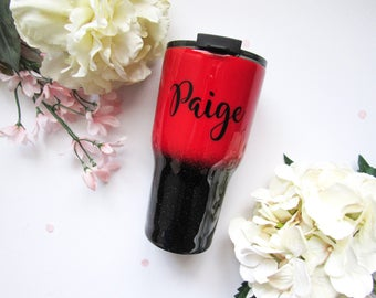 Red and Black Ombre Glitter Tumbler - Glitter Tumbler - Red Tumbler - Ombre Tumbler - Red Glitter Tumbler - Black Glitter Tumbler