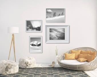 Black And White Gallery Wall Printables, Xmas Family Gift, Scandi Photo Print, Minimalist Bedroom Wall Decor, Modern Black And White Photo