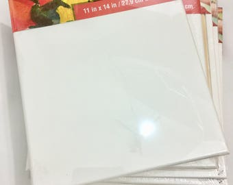 Set of 5 Stretched blank canvas 11x14 cotton duck primed and gallery wrapped high quality medium smooth surface Artist's loft