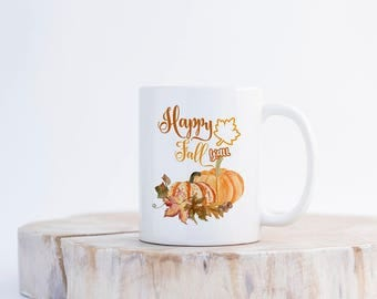 Autumn Coffee Mug, Autumn Coffee Cup,Happy Fall Y'all Coffee Mug,Autumn Leaves Coffee Cup,Autumn Mug,Fall Coffee Cup,Fall Coffee Mug
