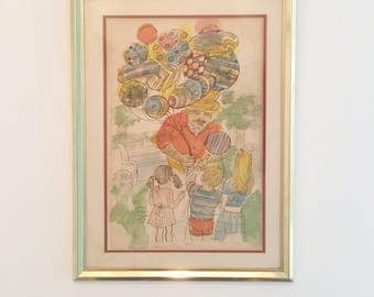 Dan Bloom 'Balloon Man' signed lithograph print numbered 41/300
