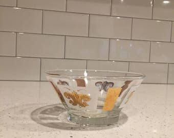 Mid Century Dip Bowl Vintage Gold and White