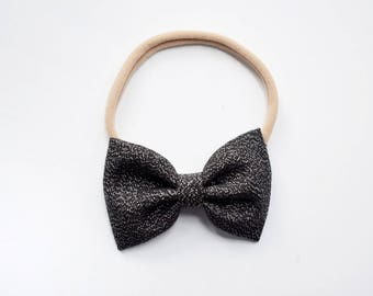 Luster | nylon baby headband, baby hair bows, baby headband, baby girl gift, baby bows, baby headband set, baby girl headbands, black bow