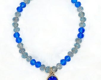 Light Blue and Cobalt Blue Crystal Beaded Bracelet