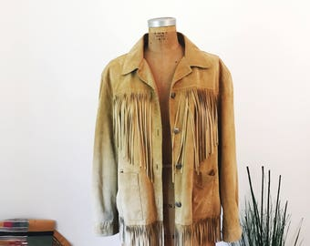 1990's Chico's Tan Genuine Suede Leather Fringe Women's Western Style Jacket Womens Size XL