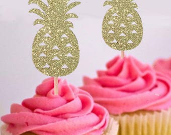 Aloha Pineapple Cupcake Toppers - Set of 12 Toppers - Tropical Party Cake Toppers - Pineapple Cupcake Topper -Luau Party - Summer party