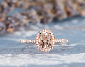 Morganite Engagement Ring Rose Gold Promise  Oval Cut Halo Wedding Women Bridal Set Unique Diamond Half Eternity Anniversary Gifts For Her
