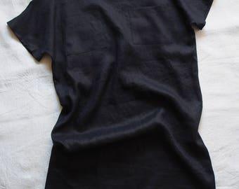 Linen dress in dark blue linen, size M