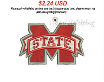 Mississippi State Bulldogs Logo Machine Embroidery Design 4 Sizes