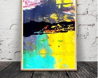 Peinture d'encre bleu minimalistemoderne,impression abstraite,acrtlique Brush Stroke Wall Art,téléchargement numérique, affiche grand format