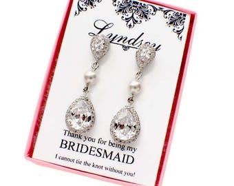 Bridal drop earrings, bridesmaid drop earrings,Swarovski crystal, teardrop wedding earrings, crystal bridal jewelry, cubic zirconia earrings