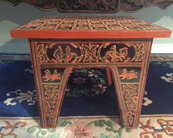 Vintage Hand-painted Lacquered Burmese Tea Table