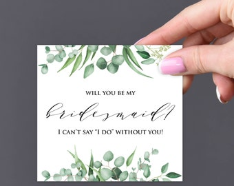 Will You Be My Bridesmaid, Printable Green Garden Will You Be My Bridesmaid Card, Download Greeting Card, Be My Bridesmaid, Wedding Card