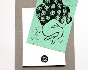 "Card / Charlie's Angels ""Shame"" / 10 x 15 / linocut"