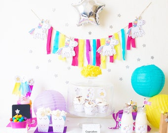 Unicorn Party Printable - Party Package - Unicorn Party Supplies - baby unicorn