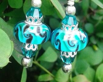 Ocean Sky Murano Earrings (shorter set)
