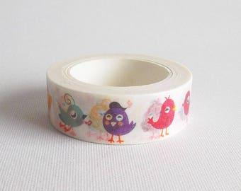 Birds washi tape, Kawaii washi tape bird, Cute washi tape, Kawaii washi paper tape, Japanese washi tape, Masking tape  washi bird
