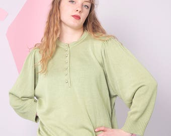 puff sleeve sweater, 80s green vintage pullover, 70s knitted slouchy sweater, button collar