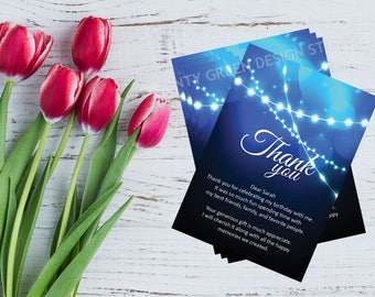 Thank You Card Template | Blue Bokeh String Lights | Thank You Card | DIY | Instant Download