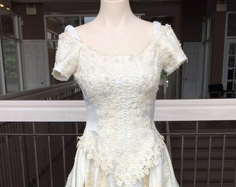 Gorgeous Antique White Gown with Ornate Corset