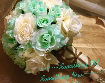 Mint Green, Cream and Gold Bridal Bouquet