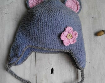 Plush Hat Baby Girl -Teddy Bear Animals  -Warm Winter/ Spring/Autumn Hat -Crochet Hat- crochet bear hat- Flower-Gift- Baby hat