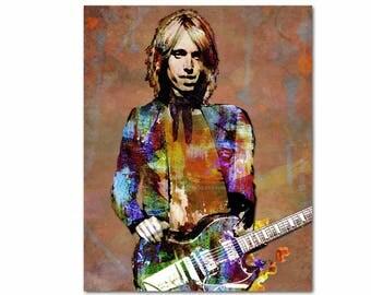 Tom Petty Canvas Print, Petty Original Art, Canvas Music Art, Pop Portrait, Rock n Roll Canvas, Watercolor Music, Rock n Roll Illustration
