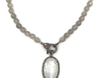 Pendant only:  Short grey moonstone necklace with moonstone and diamond pendant, Moonstone necklace, Pave diamond jewelry