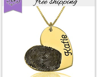 30% OFF* Fingerprint Jewelry • Actual Fingerprint Name Pendant • Personalized Gift • Women Jewelry LOVE • Valentine Gift • Christmas Gift